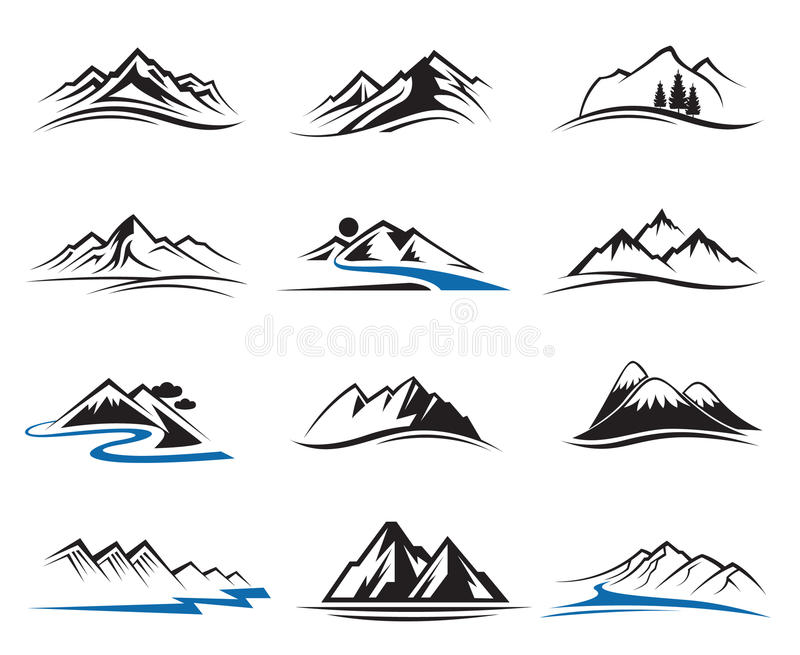 Geplaatste de pictogrammen van de berg