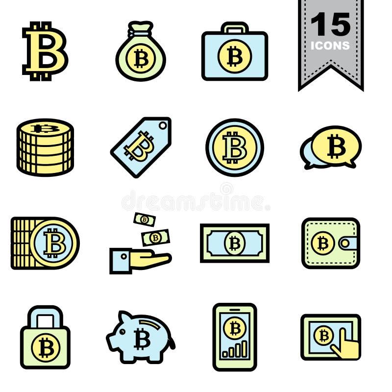 Geplaatste de pictogrammen van de Bitcoinlijn royalty-vrije illustratie