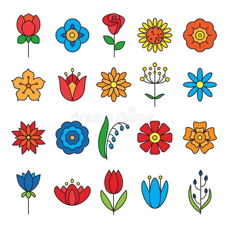 Geplaatste de pictogrammen van de bloem Moderne Dunne Contourlijn vector illustratie