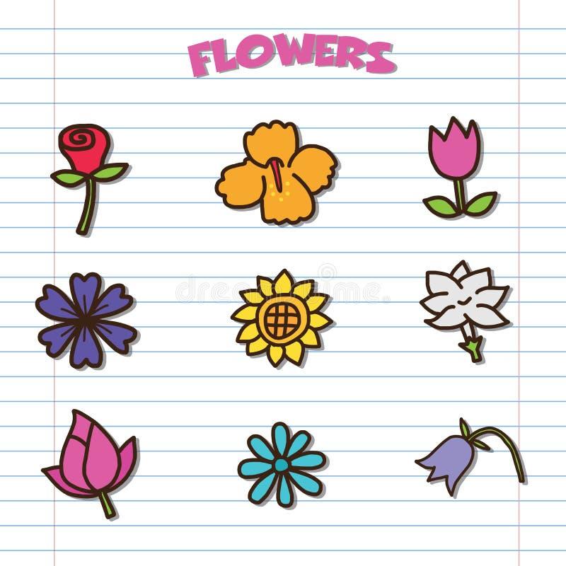 Geplaatste de pictogrammen van de bloemkrabbel stock illustratie