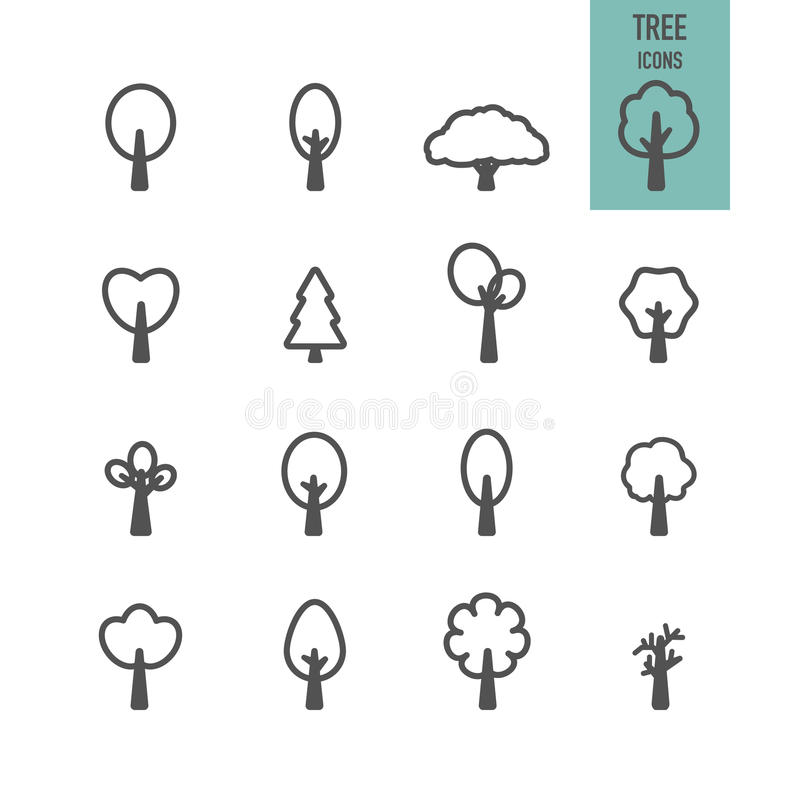 Geplaatste de pictogrammen van de boom stock illustratie