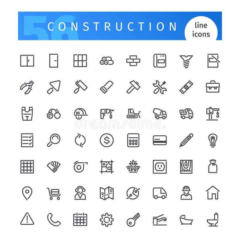 Geplaatste de pictogrammen van de bouwlijn royalty-vrije illustratie