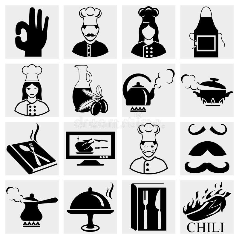 Geplaatste de pictogrammen van de chef-kok royalty-vrije illustratie