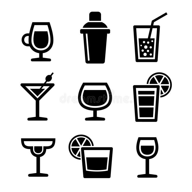 Geplaatste de Pictogrammen van de cocktail stock illustratie