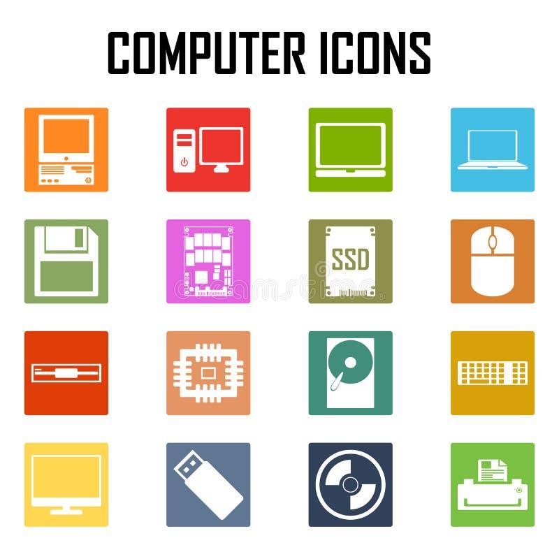 Geplaatste de pictogrammen van de computer royalty-vrije illustratie