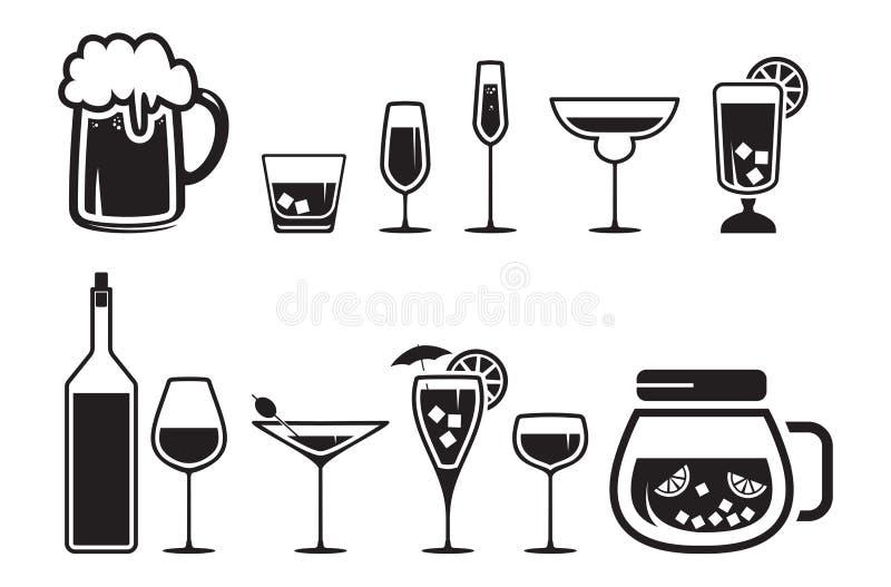 Geplaatste de pictogrammen van de de alcoholdrank van de drank royalty-vrije illustratie