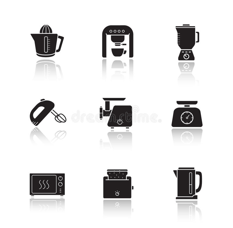 Geplaatste de pictogrammen van de de dalingsschaduw van de keukenelektronika vector illustratie