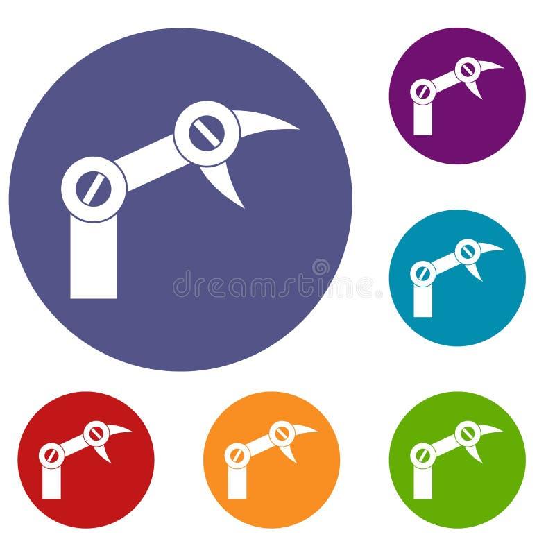 Geplaatste de pictogrammen van de de industrierobot vector illustratie
