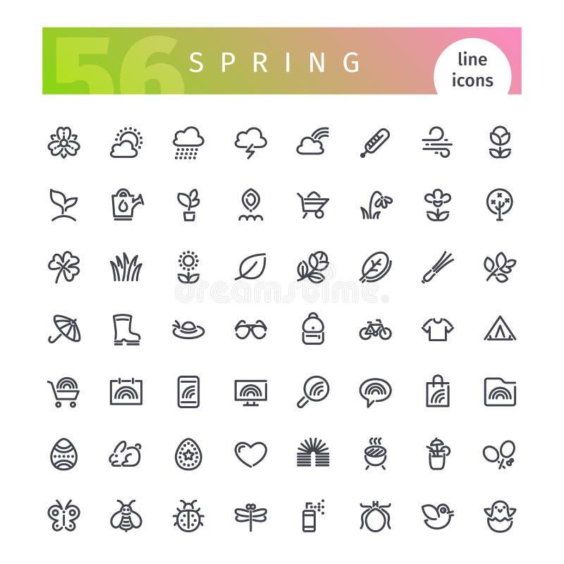 Geplaatste de Pictogrammen van de de lentelijn stock illustratie