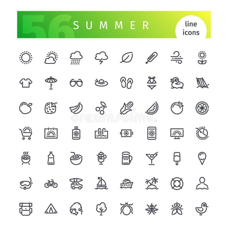 Geplaatste de pictogrammen van de de zomerlijn royalty-vrije illustratie