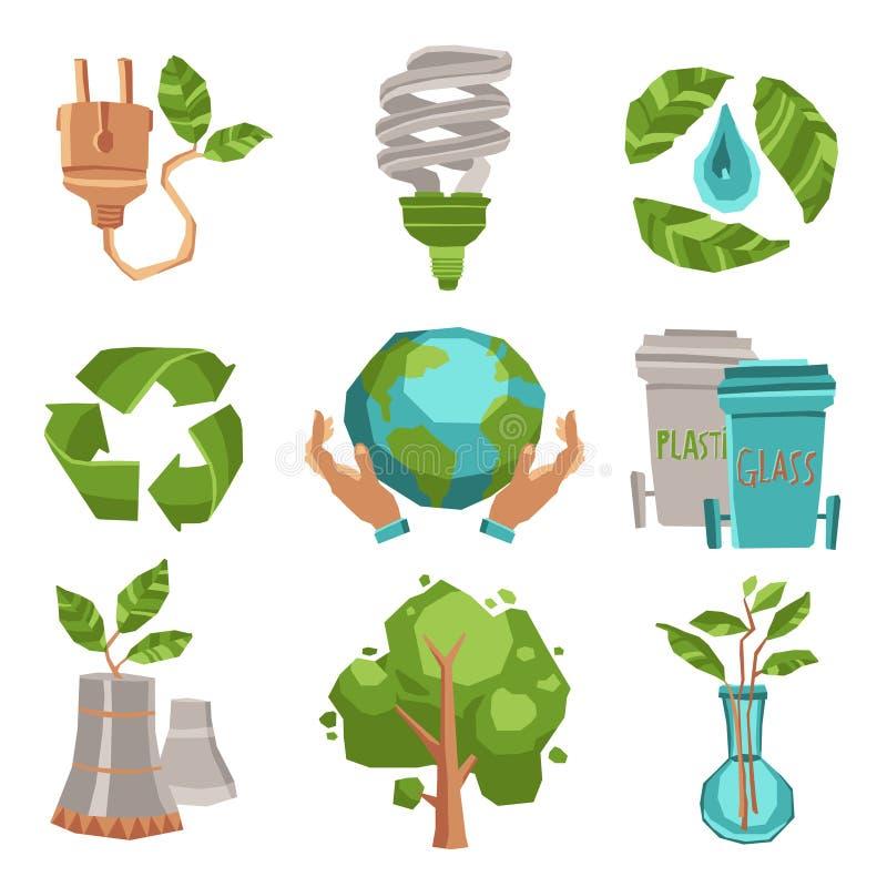 Geplaatste de pictogrammen van de ecologie vector illustratie