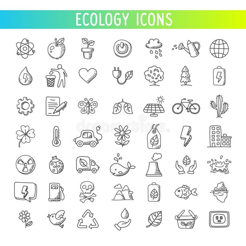 Geplaatste de pictogrammen van de ecologie Vector royalty-vrije illustratie