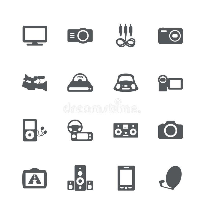 Geplaatste de pictogrammen van de elektronika stock illustratie
