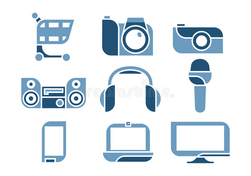 Geplaatste de pictogrammen van de elektronika royalty-vrije illustratie