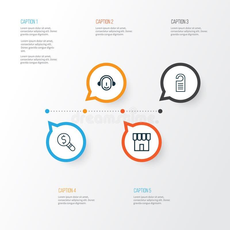 Geplaatste de pictogrammen van de elektronische handel Inzameling van Bedrijfsinspectie, Winkel, Prijs en Andere Elementen Omvat  royalty-vrije illustratie