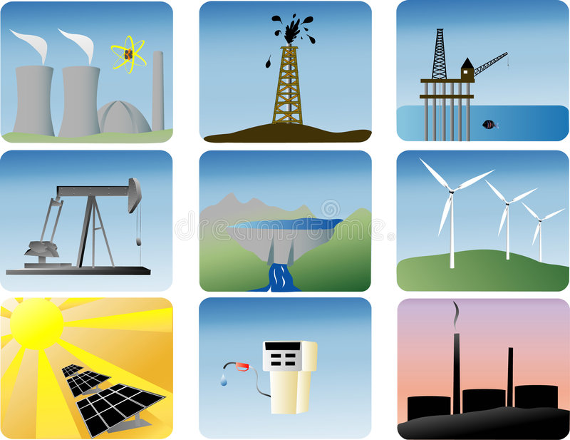 Geplaatste de pictogrammen van de energie royalty-vrije illustratie