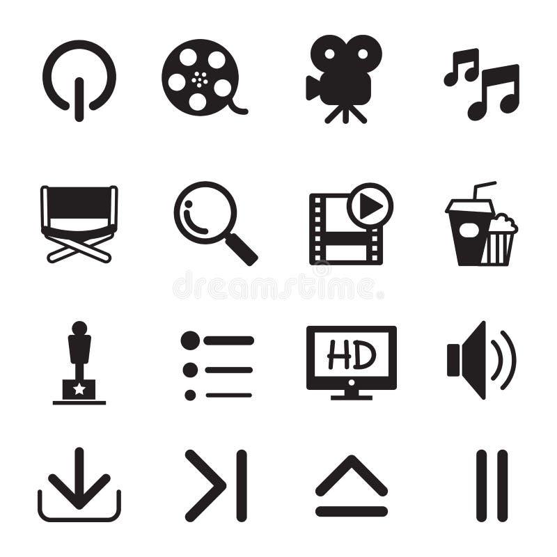 Geplaatste de pictogrammen van de film vector illustratie