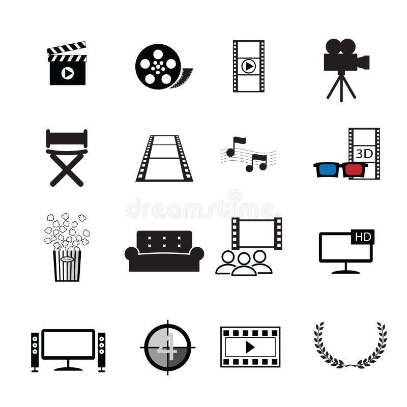 Geplaatste de pictogrammen van de filmsbioskoop royalty-vrije illustratie