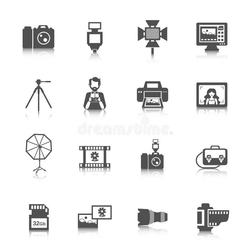 Geplaatste de Pictogrammen van de fotografie royalty-vrije illustratie