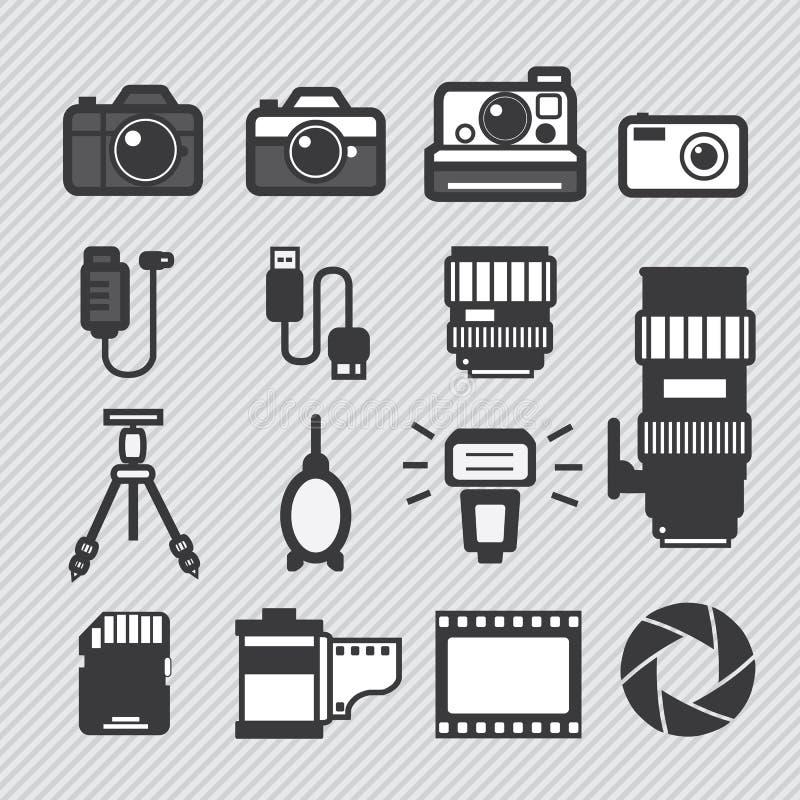 Geplaatste de pictogrammen van de fotografiecamera royalty-vrije illustratie