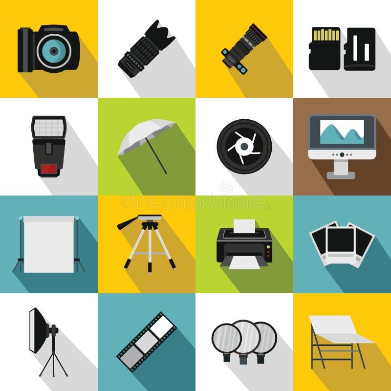 Geplaatste de pictogrammen van de fotostudio, vlakke stijl stock illustratie
