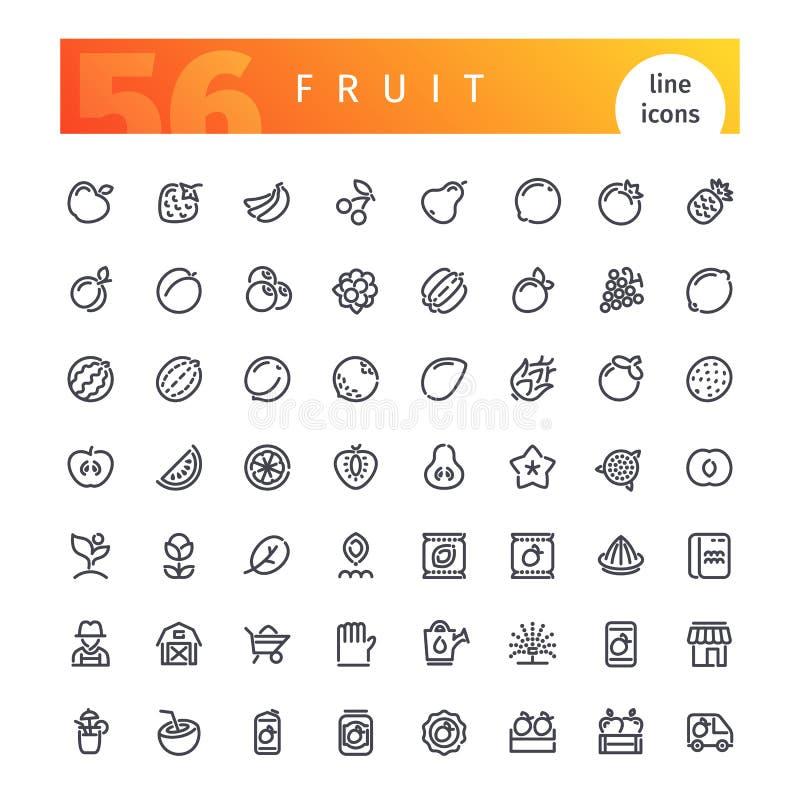 Geplaatste de Pictogrammen van de fruitlijn stock illustratie