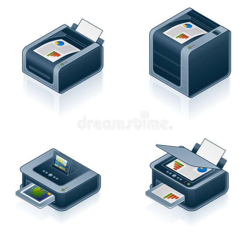 Geplaatste de Pictogrammen van de Hardware van de computer royalty-vrije illustratie