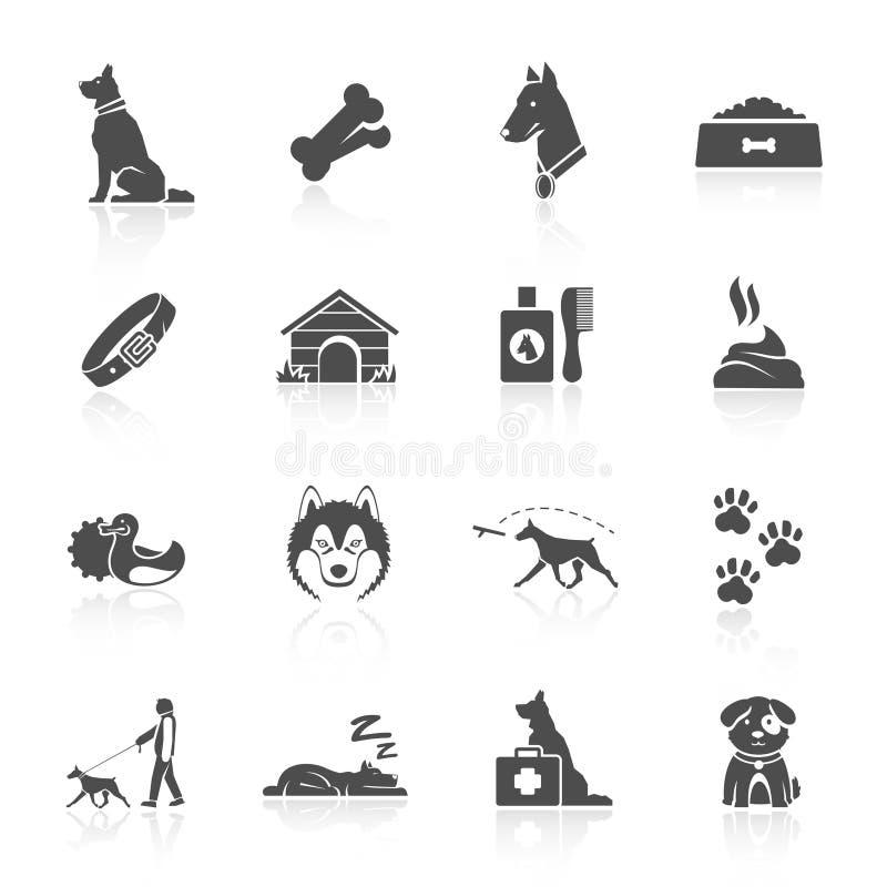 Geplaatste de pictogrammen van de hond vector illustratie