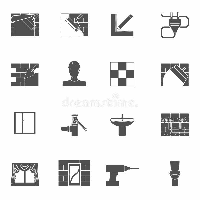 Geplaatste de pictogrammen van de huisreparatie royalty-vrije illustratie