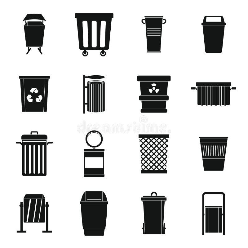 Geplaatste de pictogrammen van de huisvuilcontainer, eenvoudige stijl royalty-vrije illustratie