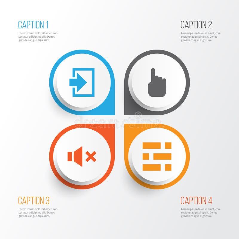 Geplaatste de pictogrammen van de interface Inzameling van Curseur, Ingang, Stilte en Andere Elementen Omvat ook Symbolen zoals b vector illustratie