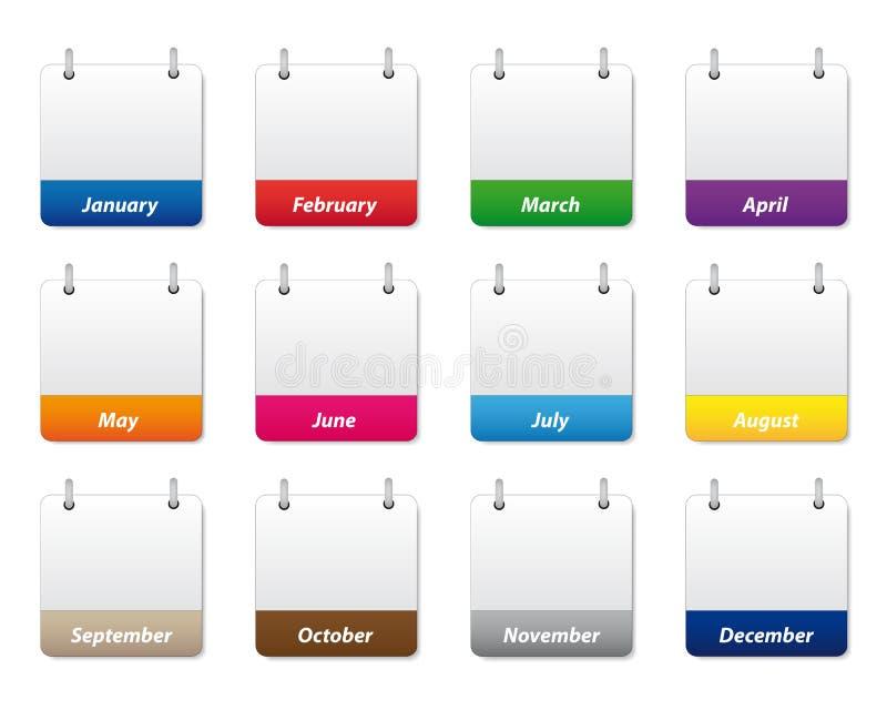 Geplaatste de pictogrammen van de kalender stock illustratie