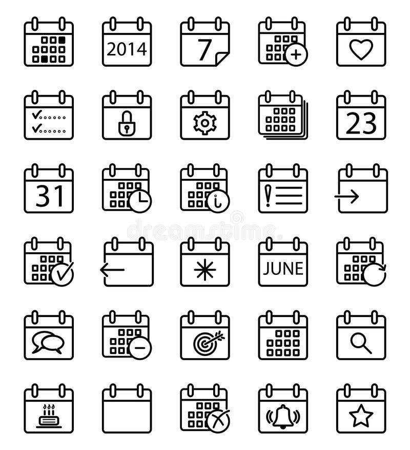 Geplaatste de pictogrammen van de kalenderslag vector illustratie