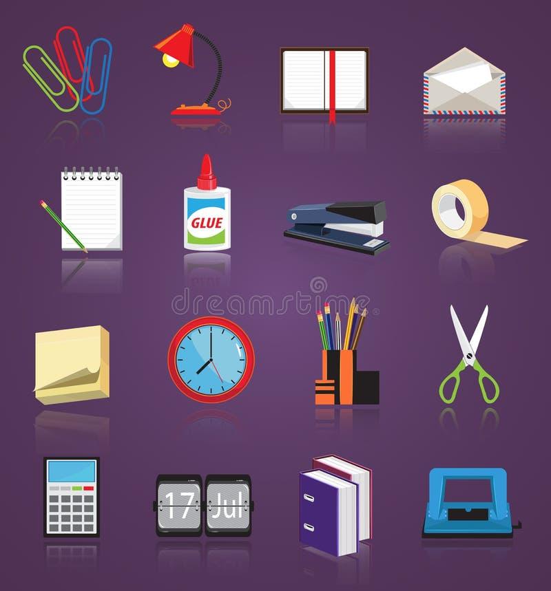 Geplaatste de pictogrammen van de kantoorbehoeften vector illustratie