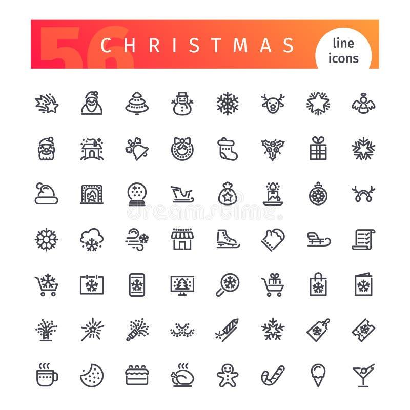 Geplaatste de Pictogrammen van de Kerstmislijn royalty-vrije illustratie