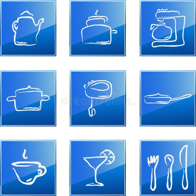 Geplaatste de pictogrammen van de keuken royalty-vrije illustratie