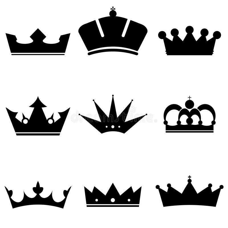 Geplaatste de pictogrammen van de kroon stock illustratie