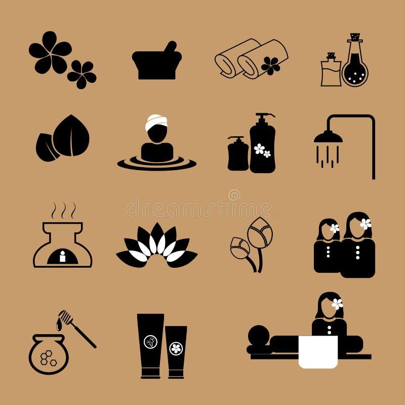 Geplaatste de pictogrammen van de kuuroordmassage vector illustratie