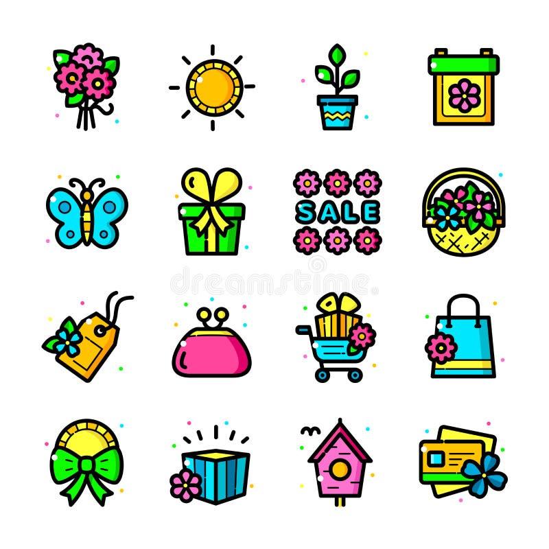 Geplaatste de pictogrammen van de lentetijdverkoop, vectorillustratie royalty-vrije illustratie