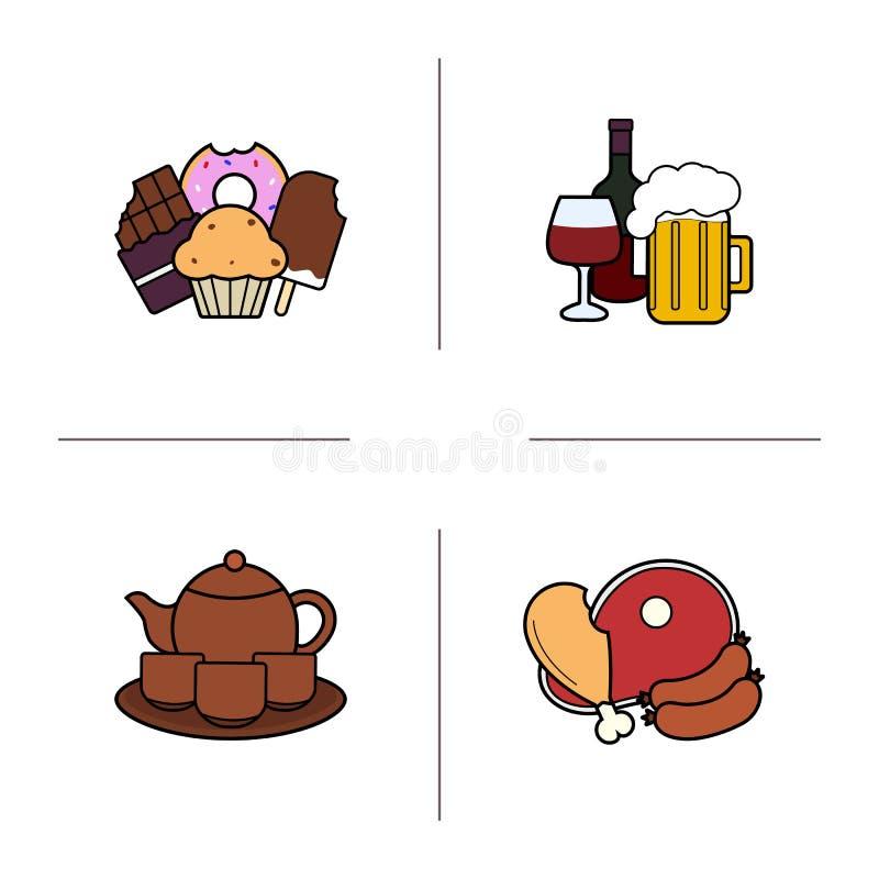 Geplaatste de pictogrammen van de levensmiddelencategorieënkleur royalty-vrije illustratie