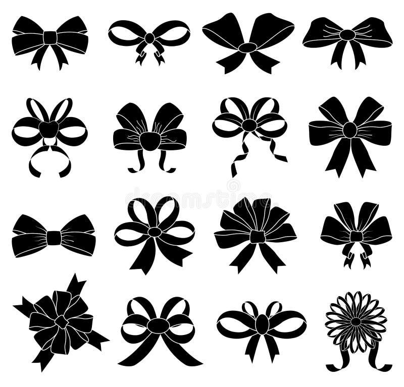 Geplaatste de pictogrammen van de lintboog vector illustratie