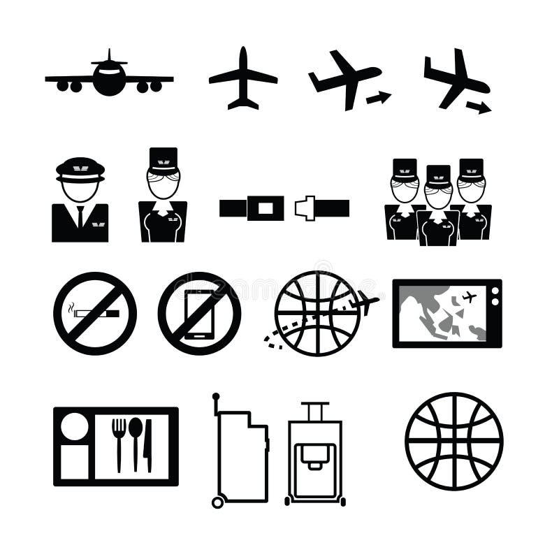 Geplaatste de pictogrammen van de luchtroutesdienst royalty-vrije illustratie