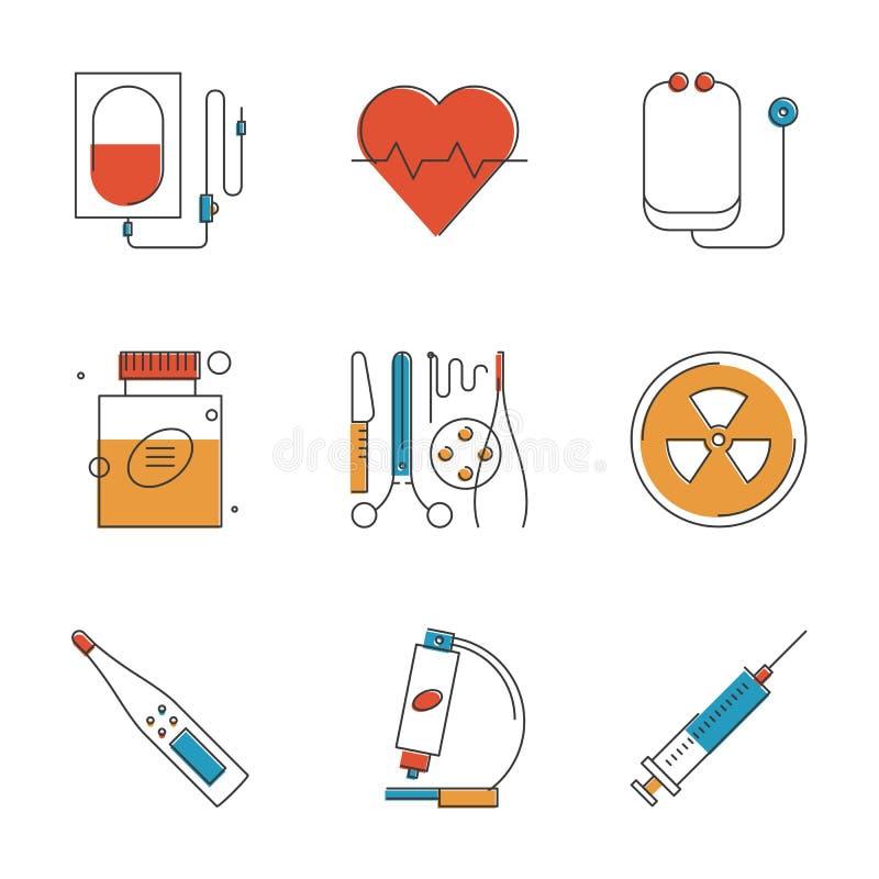 Geplaatste de pictogrammen van de medische en gezondheidszorglijn vector illustratie
