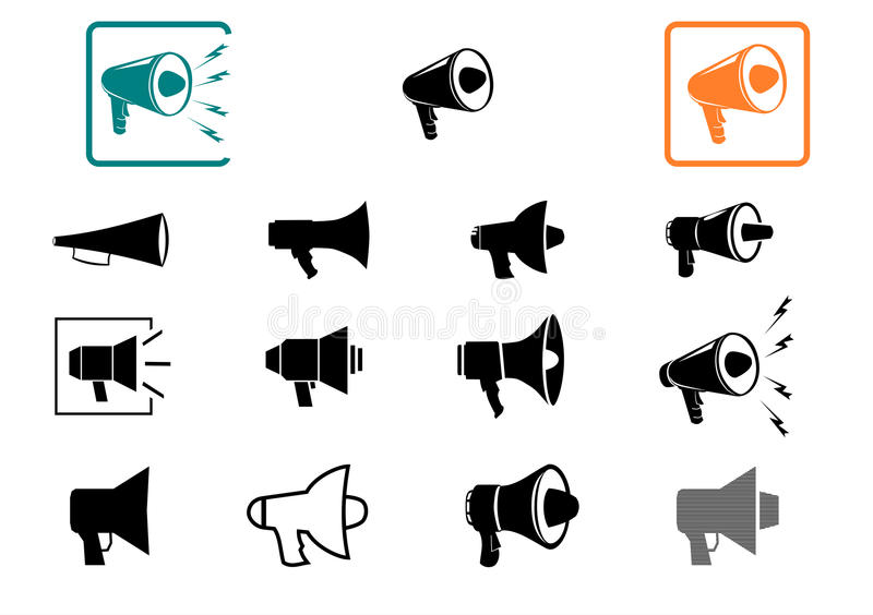 Geplaatste de pictogrammen van de megafoon. royalty-vrije illustratie
