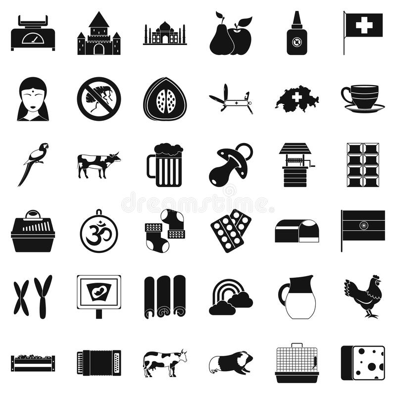 Geplaatste de pictogrammen van de melkkoe, eenvoudige stijl royalty-vrije illustratie