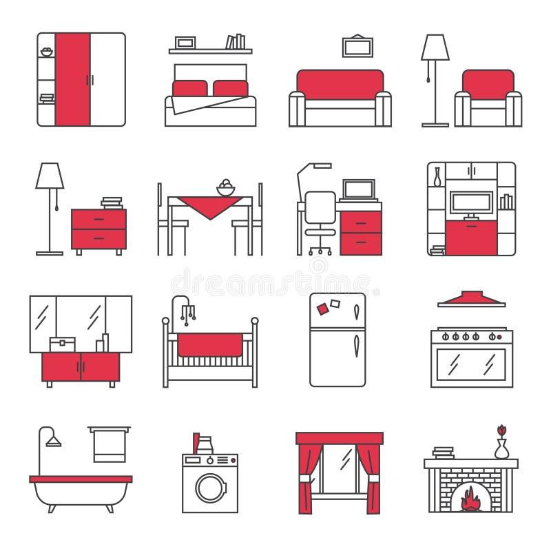 Geplaatste de Pictogrammen van de meubilairlijn stock illustratie