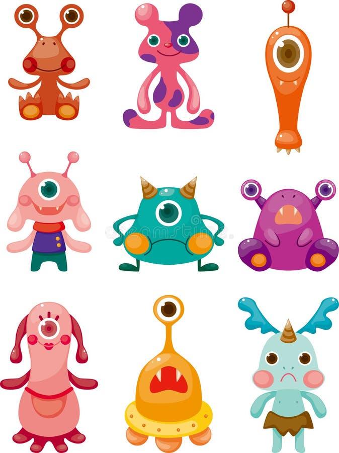 Geplaatste de pictogrammen van de Monsters van het beeldverhaal royalty-vrije illustratie