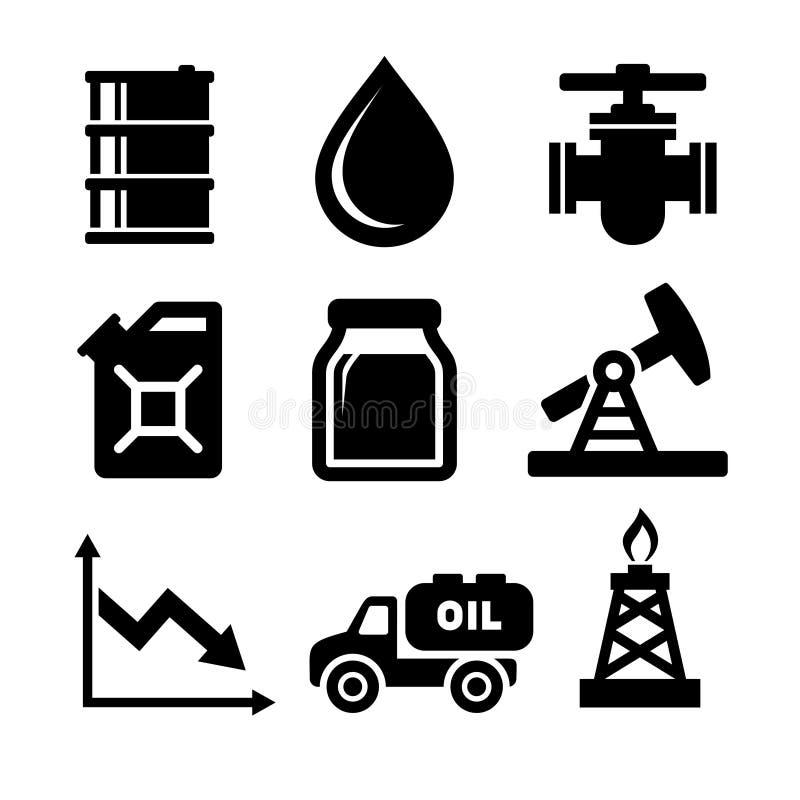 Geplaatste de pictogrammen van de olie royalty-vrije illustratie