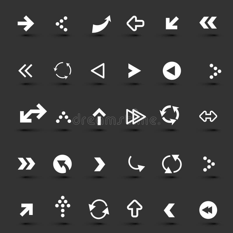 Geplaatste de pictogrammen van de pijl vector illustratie