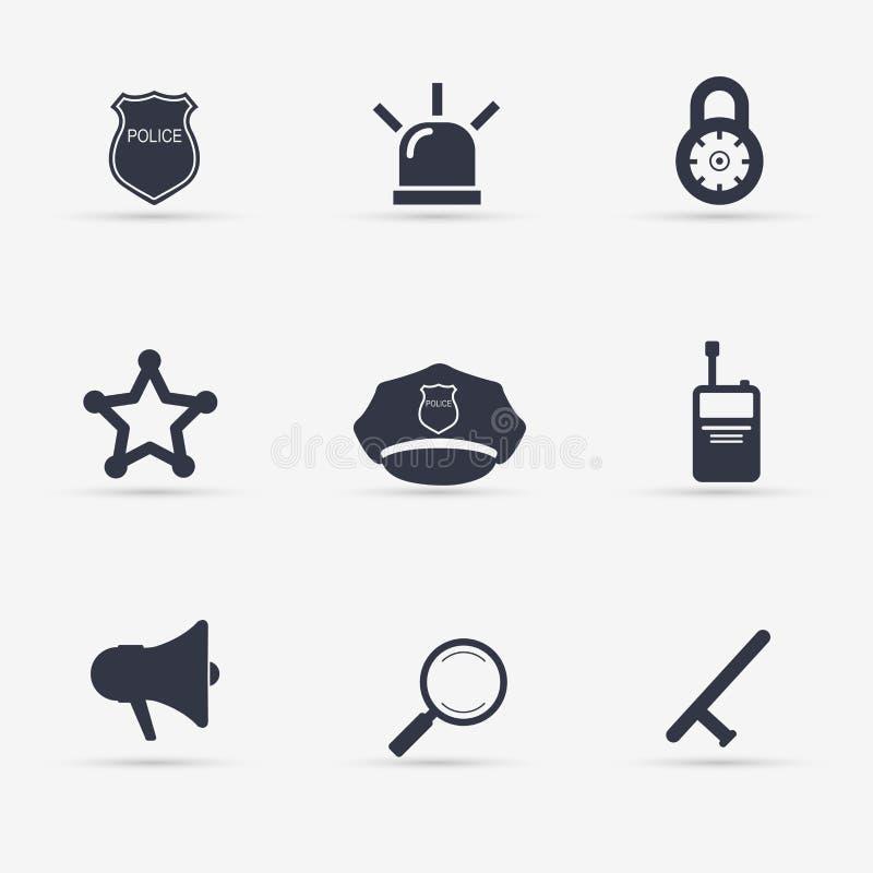 Geplaatste de pictogrammen van de politie Illustratie vector illustratie